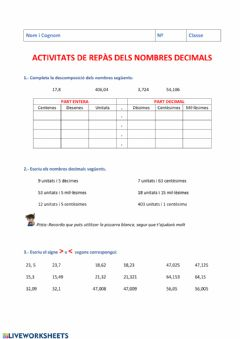 Interactive worksheet Repàs-Decimals