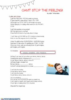 Interactive worksheet Song: I got this feeling