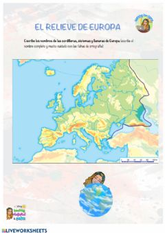Interactive worksheet Sociales - El relieve de Europa