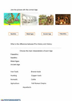 Interactive worksheet Prehistory and history time line