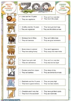 Interactive worksheet Zoo