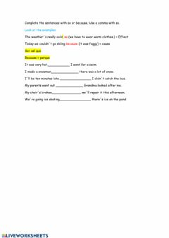 Interactive worksheet Because and so