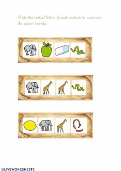 Interactive worksheet Secret messages: colours, numbers, body parts, food, animals and school objects.