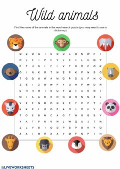 Ficha interactiva Wild animals wordsearch