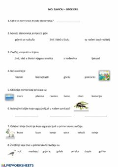 Interactive worksheet Zavičaj