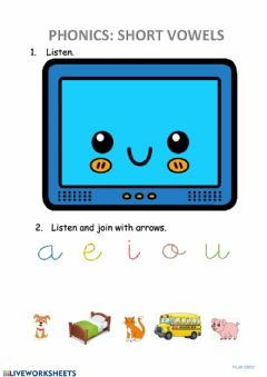 Ficha interactiva Phonics: short vowels