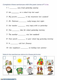 Interactive worksheet TO BE - past tense 1