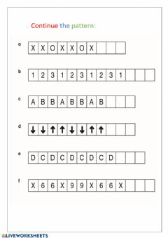 Interactive worksheet Continue the pattern