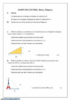 Interactive worksheet Pitágoras