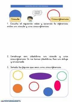 Interactive worksheet 23 abril: Círculo y circunferencia