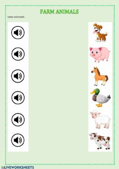 Ficha interactiva Farm animals