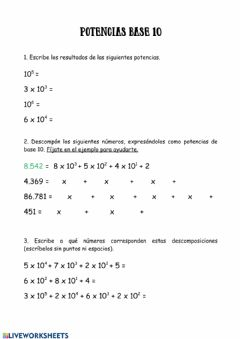 Interactive worksheet Potencia base 10