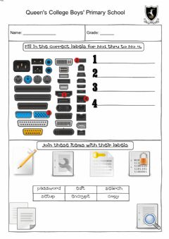 Interactive worksheet Computer label and join