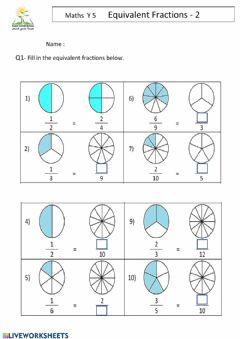 Interactive worksheet Fractions