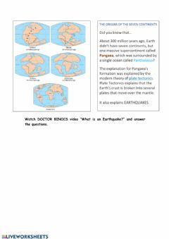Interactive worksheet Doctor binocs: earthquakes