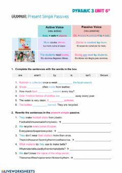 Interactive worksheet D3 Unit 6 Grammar Present Simple Passives PI