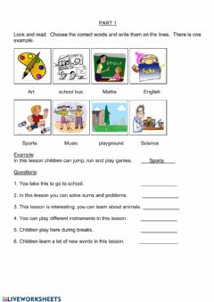 Interactive worksheet YLE - MOVERS - Parts 1 & 2