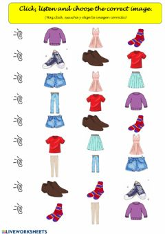 Interactive worksheet Clothes: Listen and choose