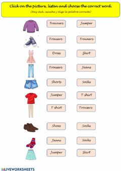 Ficha interactiva Clothes: Listen and choose