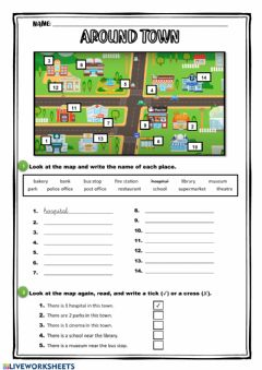 Interactive worksheet Around town