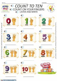 Interactive worksheet Count to ten - Scheda n. 2 kindergarten