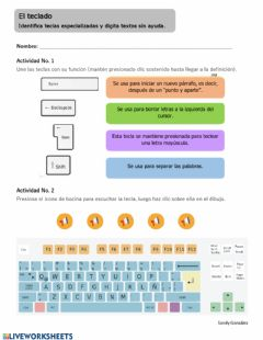 Interactive worksheet El teclado