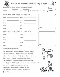 Ficha interactiva Suffix -ing -ed Worksheet