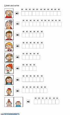 Interactive worksheet Family - Spelling