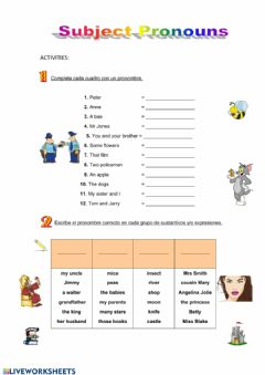Interactive worksheet Subject Pronouns 1°