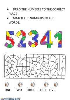 Interactive worksheet Numbers 1-5