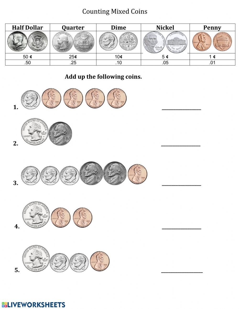- Counting Mixed Coins -1 - Interactive Worksheet