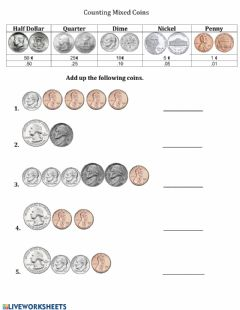 Interactive worksheet Counting Mixed Coins -1