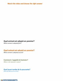 Ficha interactiva Listening comprehension-écoute (French)