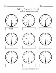 Ficha interactiva Telling Time to half hour