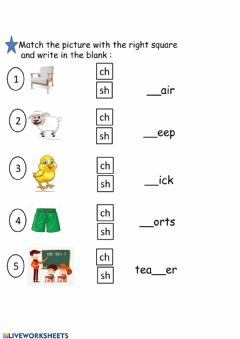 Interactive worksheet Phonics: sh-ch