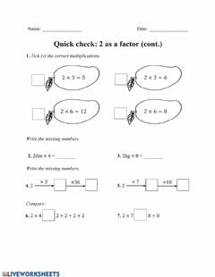 Interactive worksheet Practice on class: 2 as a Factor (cont)