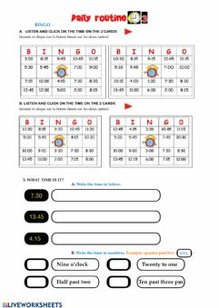 Interactive worksheet Daily routine 3 - Time