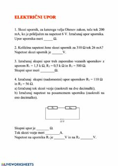 Interactive worksheet Elektrika