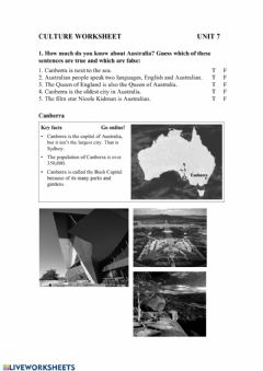 Interactive worksheet Canberra
