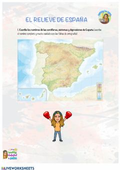 Interactive worksheet Sociales - El relieve de España