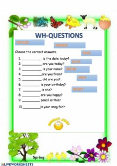 Interactive worksheet WH questions with to be