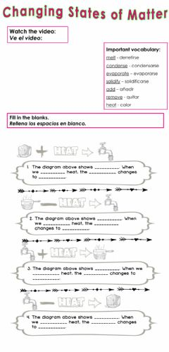 Interactive worksheet Changing States of Matter