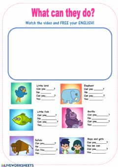 Interactive worksheet Animals  can-can't