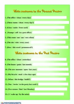 Interactive worksheet Present Simple Passive and Past Simple Passive