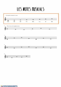 Interactive worksheet Notes musicals