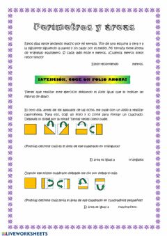 Interactive worksheet Perímetros y áreas