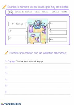 Interactive worksheet El baño