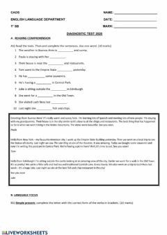 Interactive worksheet Diagnostic Quiz