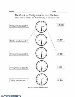 Interactive worksheet Telling Time by Half Hour