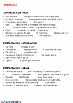 Interactive worksheet L'uso dell'h